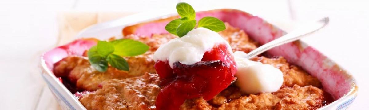Almás-szilvás cobbler amerikai kanalas gyümölcsös pite