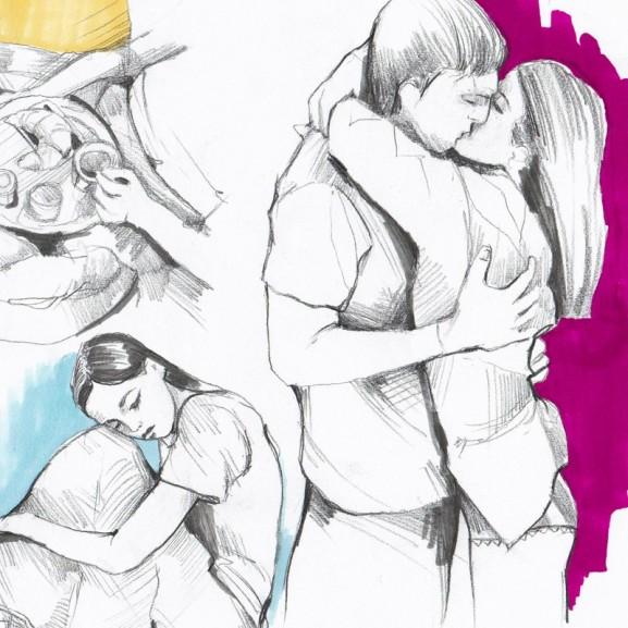 Cséfalvay Fanny grafika szerelem szakítás mese a szerelemmel és szakítással kikövezett úton