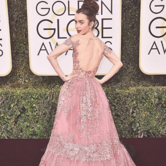 Lily Collins Golden Globe