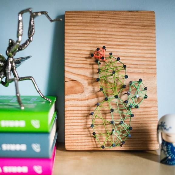 Mojzes Nóra Egyedi falikép pillanatok alatt DIY szög fonal kaktusz