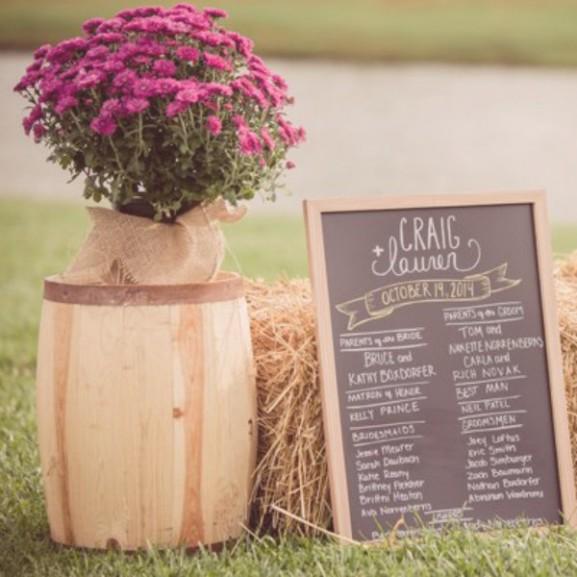 őszi esküvő krizantém