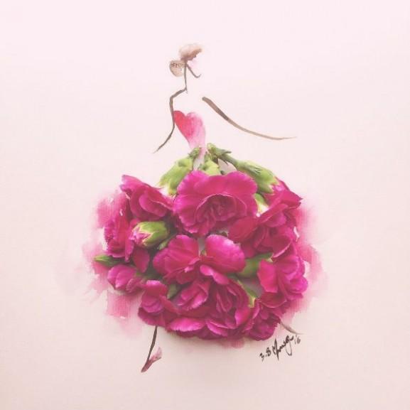 virág ruha rajz