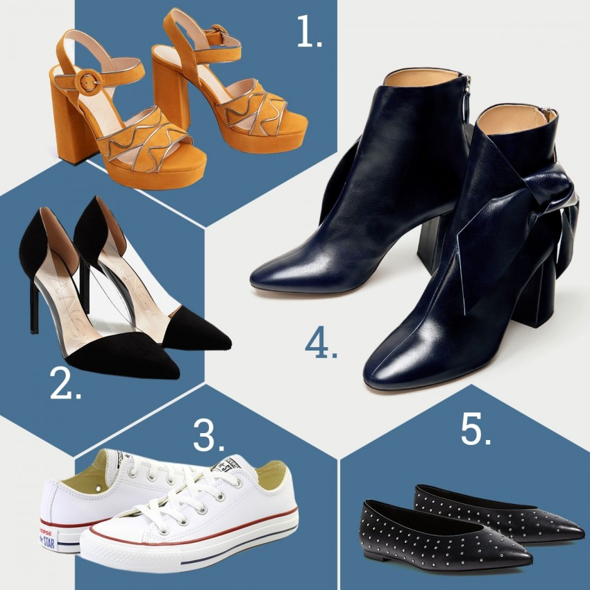 1. Mango, 2. Mango, 3. Office Shoes, 4. Zara, 5. Stradivarius