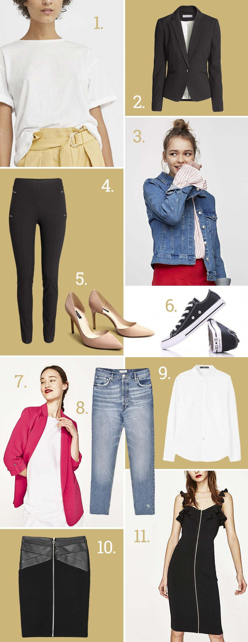 1.Mango  2.H&M  3.Pull&Bear  4.H&M  5.Mango  6.Converse  7.Zara  8.Zara  9.Mango  10.Stradivarius  11.Zara