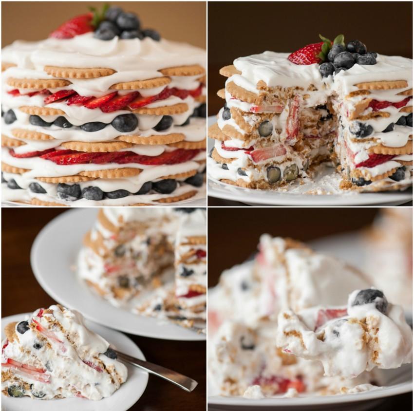 Kókuszos- áfonyás icebox torta