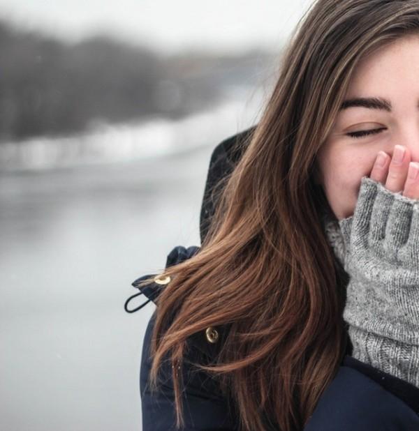lány, kabát, tél