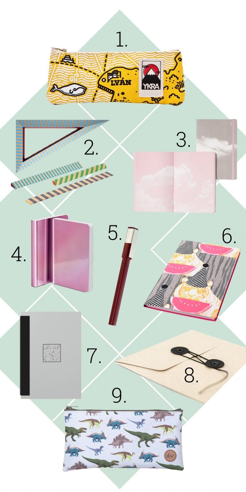1. Ykra, 2. A+R, 3. Nuuna - Fiók, 4. Nuuna - Fiók, 5. Moleskine, 6. IKEA, 7. Papierniczeni - Fiók, 8. Papierniczeni -Fiók, 9. DVshop